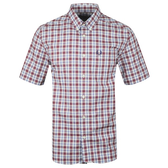 Fred Perry Mens Red Small Check Shirt main image