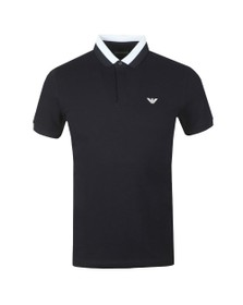 Emporio Armani Mens Blue Colour Block Collar Polo Shirt