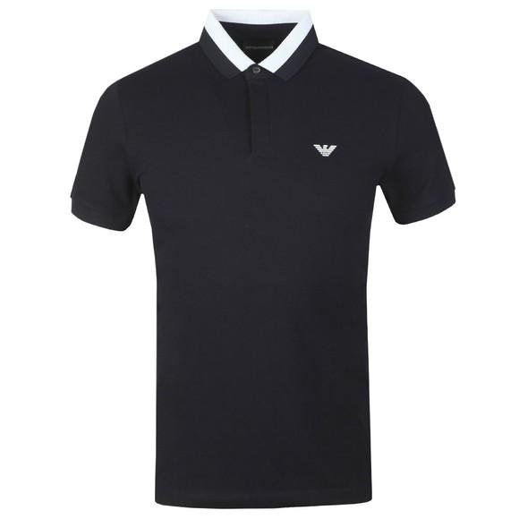 Emporio Armani Mens Blue Colour Block Collar Polo Shirt