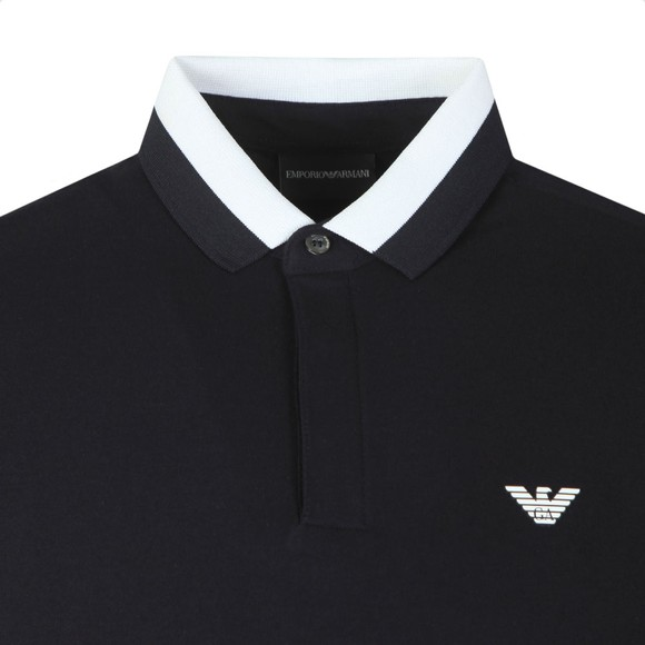 Emporio Armani Mens Blue Colour Block Collar Polo Shirt main image