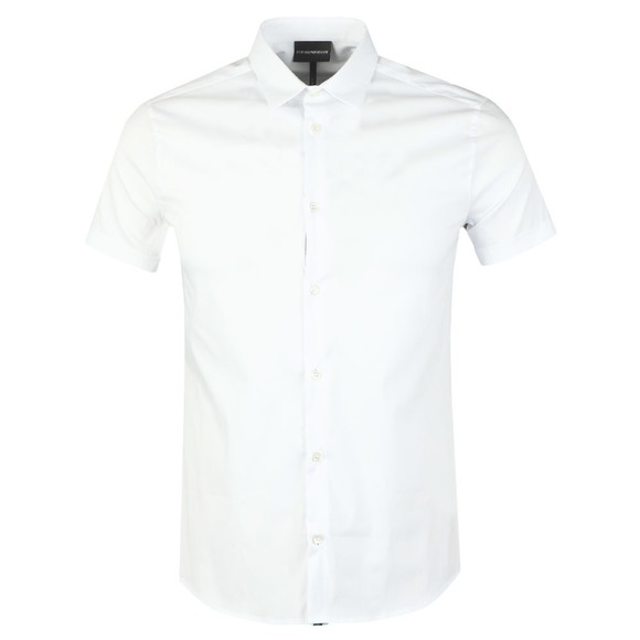 Emporio Armani Mens White Plain Short Sleeve Shirt