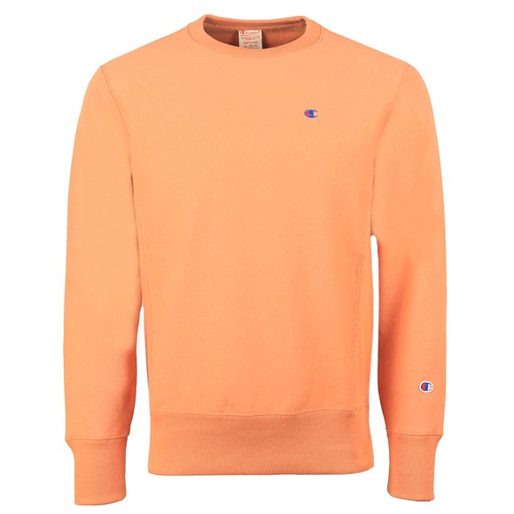 Champion Reverse Weave Mens Orange Logo Reverse Weave Sweatshirt
