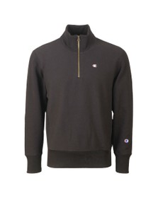 Champion Mens Black 1/2 Zip Reverse Weave Sweatshirt