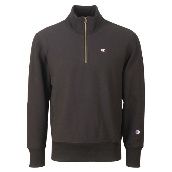 Champion Reverse Weave Mens Black 1/2 Zip Sweatshirt