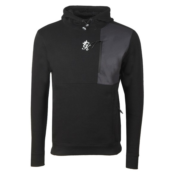 Gym King Mens Black Overlay Over Hoodie