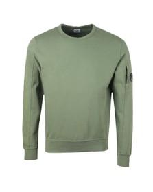 C.P. Company Mens Green Light Fleece Crew Neck Sweatshirt