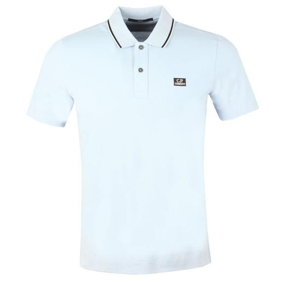 C.P. Company Mens Blue Tipped Piquet Short Sleeve Polo Shirt