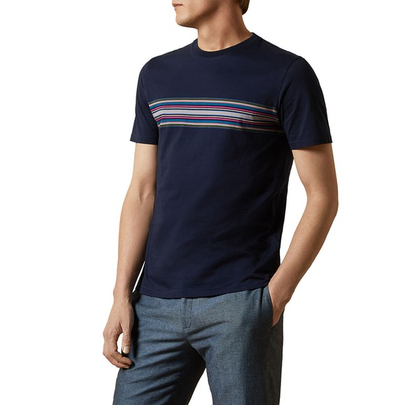Ted Baker Mens Blue Stripe Chest T-Shirt