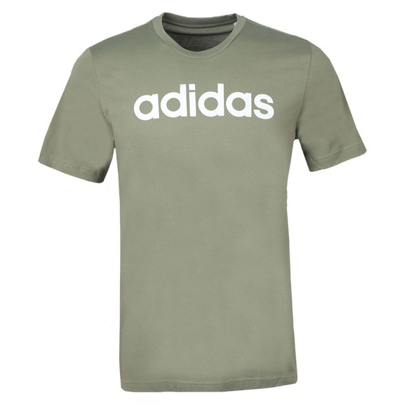 adidas Mens Green Linear Logo T-Shirt