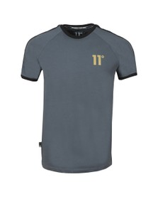Eleven Degrees Mens Grey Taped Ringer T-Shirt