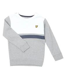 Lyle And Scott Junior Boys Grey Yoke Stripe LB Crew Sweatshirt