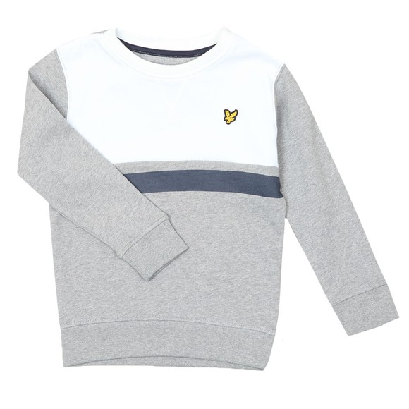 Lyle And Scott Junior Boys Grey Yoke Stripe LB Crew Sweatshirt