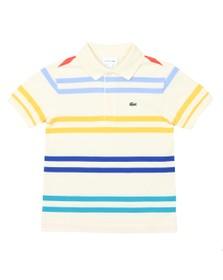Lacoste Boys Off-White PJ4911 Stripe Polo Shirt