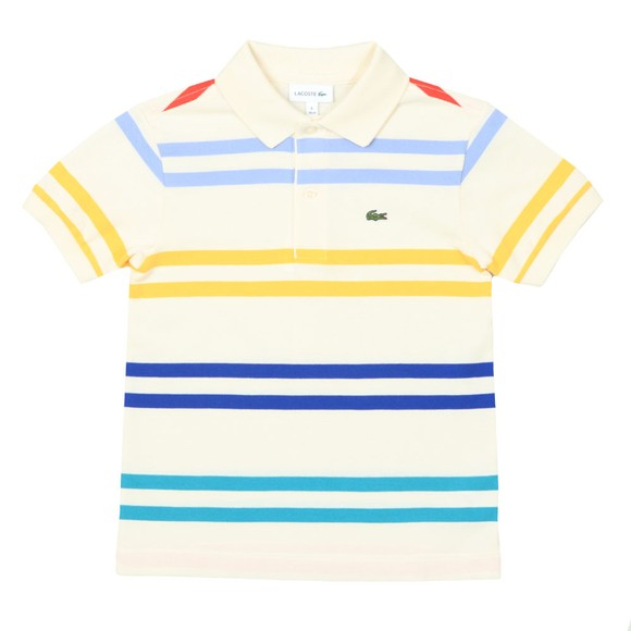 Lacoste Boys Off-White PJ4911 Stripe Polo Shirt