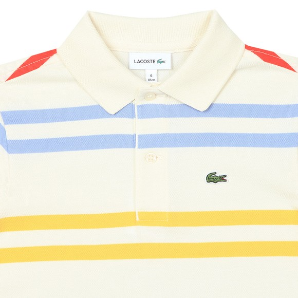 Lacoste Boys Off-White PJ4911 Stripe Polo Shirt main image