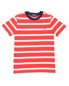 Polo Ralph Lauren Boys Red Block Stripe Crew T Shirt