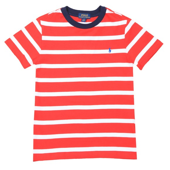 Polo Ralph Lauren Boys Red Block Stripe Crew T Shirt main image