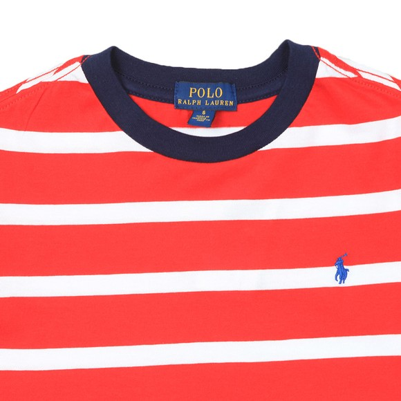 Polo Ralph Lauren Boys Red Block Stripe Crew T Shirt