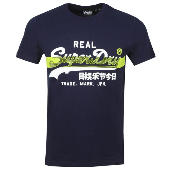 Superdry Mens Blue VL Cross Hatch T-Shirt