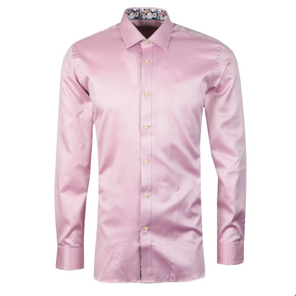 Ted Baker Mens Pink Herringbone Sterling Shirt