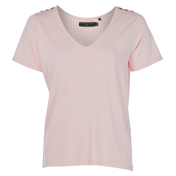 Holland Cooper Womens Pink Relax Fit V Neck T Shirt