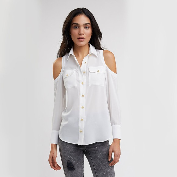 Holland Cooper Womens White Luxe Cold Shoulder Shirt main image