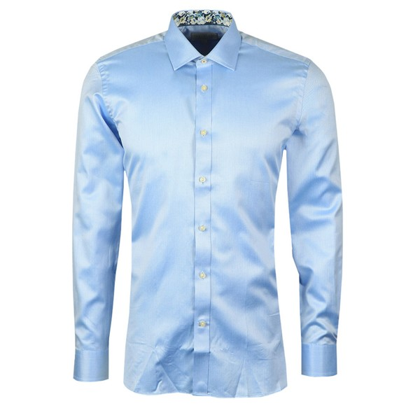 Ted Baker Mens Blue Herringbone Sterling Shirt