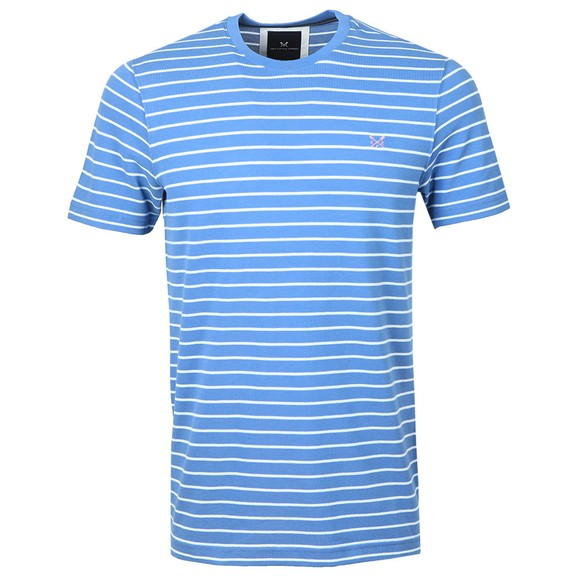 Crew Clothing Company Mens Blue Marshaw Pique Stripe T-Shirt