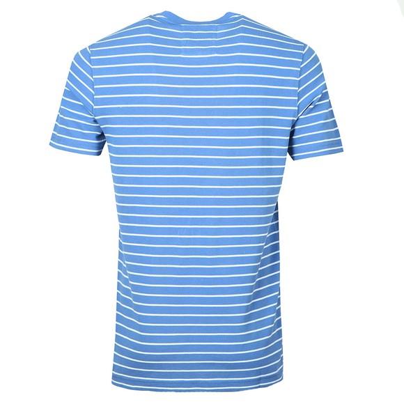 Crew Clothing Company Mens Blue Marshaw Pique Stripe T-Shirt main image