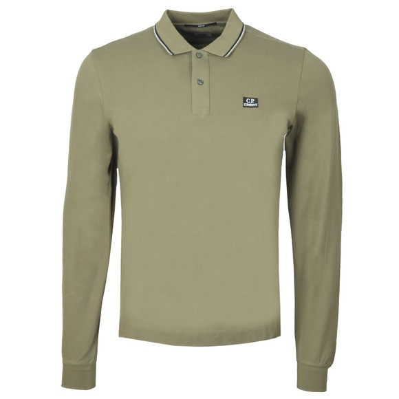 C.P. Company Mens Green Tipped Long Sleeve Embroidered Polo Shirt
