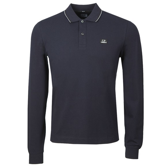 C.P. Company Mens Blue Tipped Long Sleeve Embroidered Polo Shirt