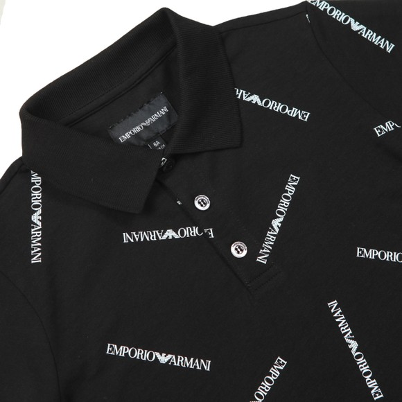 Emporio Armani Boys Black Allover Logo Polo Shirt