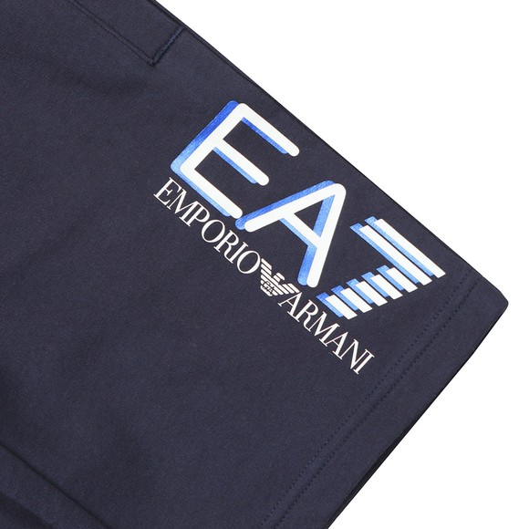 EA7 Emporio Armani Boys Blue Large Logo Jersey Shorts main image
