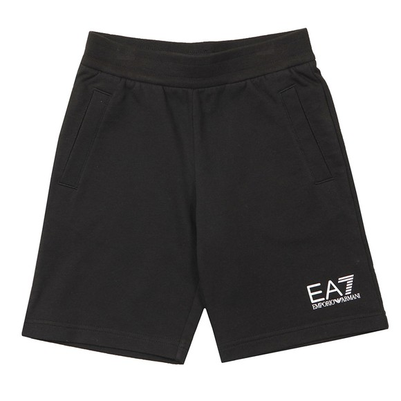 EA7 Emporio Armani Boys Black Small Logo Jersey Shorts