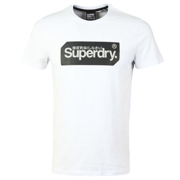 Superdry Mens White Core Logo Tag T-Shirt