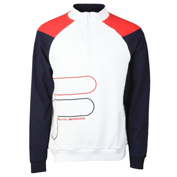 Fila Mens White Fenwick 1/4 Zip Sweatshirt