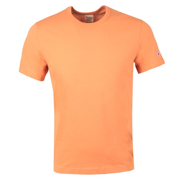 Champion Reverse Weave Mens Orange Crew Neck T-Shirt