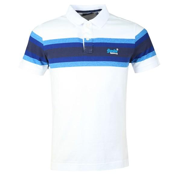 Superdry Mens White Malibu Stripe Polo Shirt