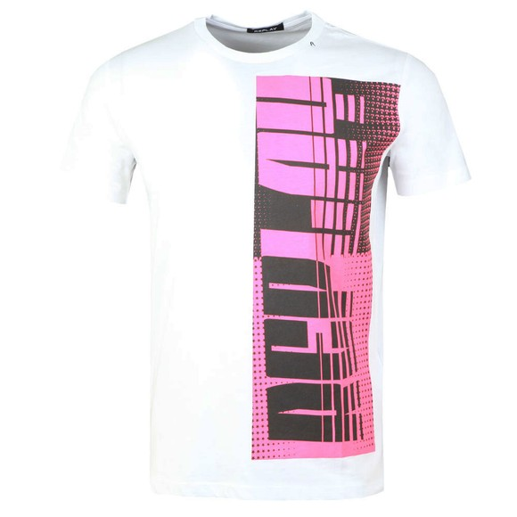 Replay Mens White Side Logo T-Shirt