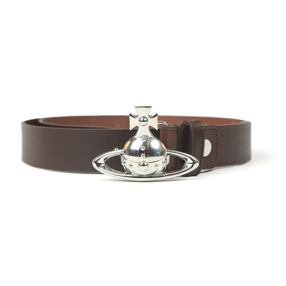 Vivienne Westwood Mens Brown Orb Buckle Leather Belt