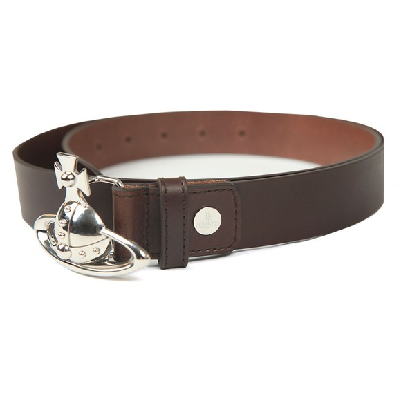 Vivienne Westwood Mens Brown Orb Buckle Leather Belt main image