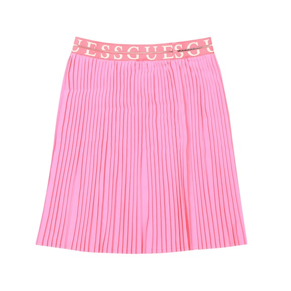 Guess Girls Pink Waist Logo Pleated Skirt