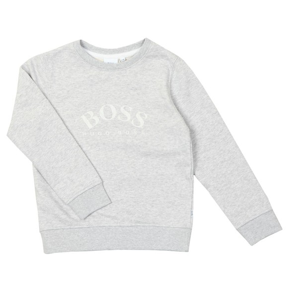 BOSS Boys Grey Curved Logo Sweatshirt
