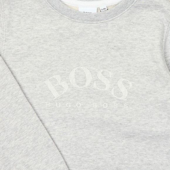 BOSS Boys Grey Curved Logo Sweatshirt main image