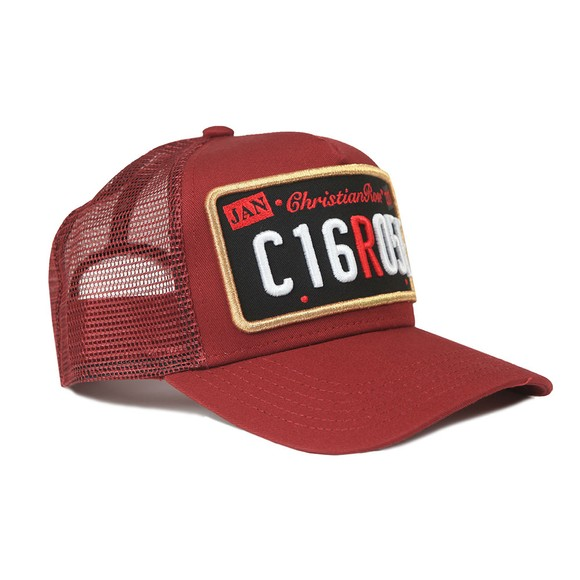 Christian Rose Mens Red Private Plate Black Patch Cap