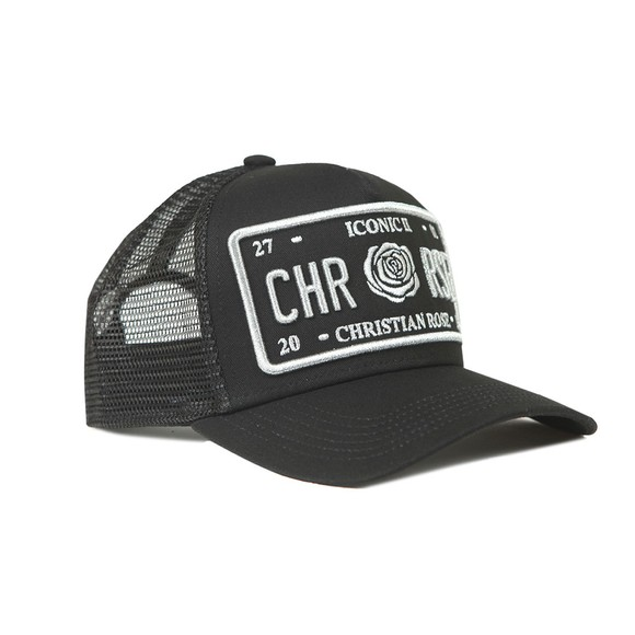 Christian Rose Mens Black Iconic Plate Cap