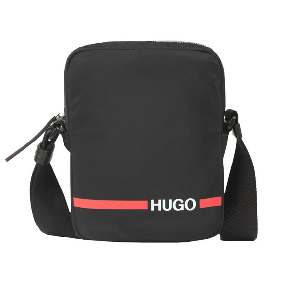 HUGO Mens Black Record Zip Messenger Bag