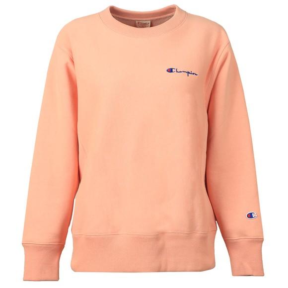 Champion Reverse Weave Womens Pink Small Script Logo Sweatshirt