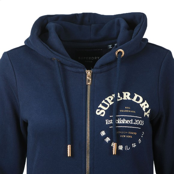 Superdry Womens Blue Applique Serif Zip Hoody