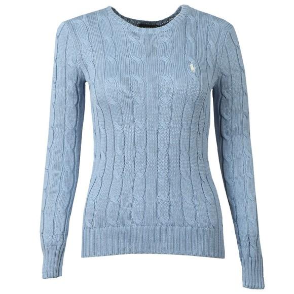 Polo Ralph Lauren Womens Blue Julianna Cable Knit Jumper